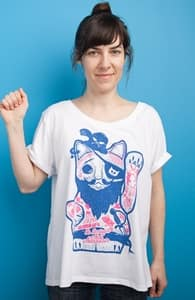 Lucky Cat Pirate, Girly Other Tops + Threadless Collection