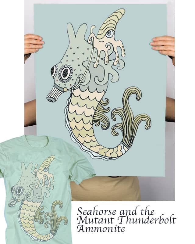 Seahorse and the Mutant Thunderbolt Ammonite by myteemo on Threadless