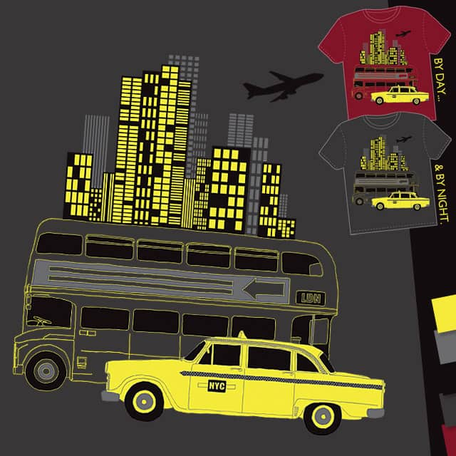 NYC Taxi, LDN Bus by lankybadger on Threadless