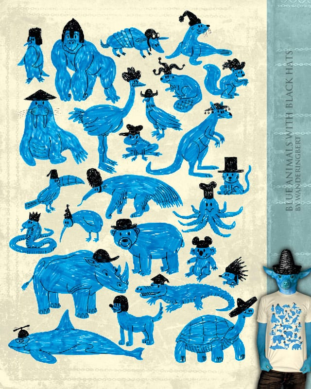 Blue Animals with Black Hats by WanderingBert on Threadless