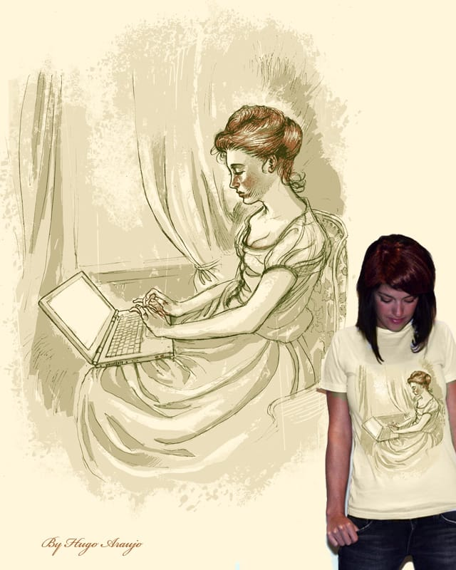 Woman with a laptop by HugoAraujo on Threadless