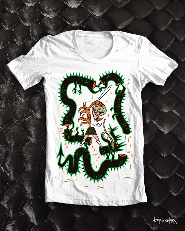 Girl with Braces Defeats Serpent by andyg on Threadless