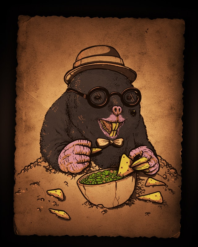 A Mole, with a mole, eating chips and Guacamole! by alexmdc on Threadless