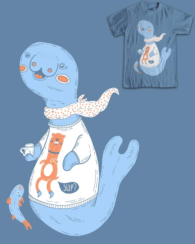 Manatee in a tee with a cup of tea by randyotter3000 on Threadless