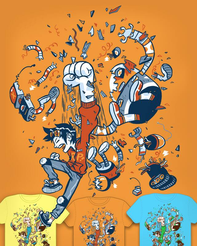Robot Puncher! by Mike Laughead on Threadless