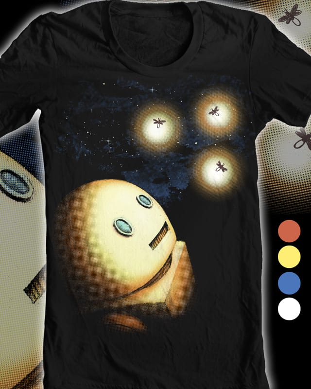 Robot and Fireflies by robbielee on Threadless