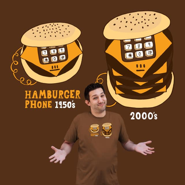 Hamburger Phone Portion Sizes by bananaphone on Threadless