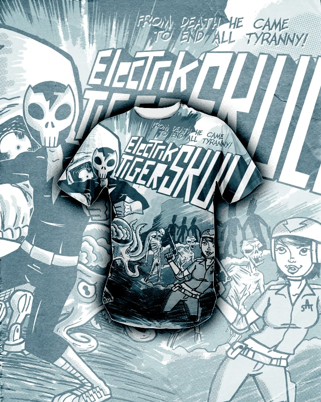 Electrik Tiger Skull! by r.o.b.o.t.i.c.octopus on Threadless