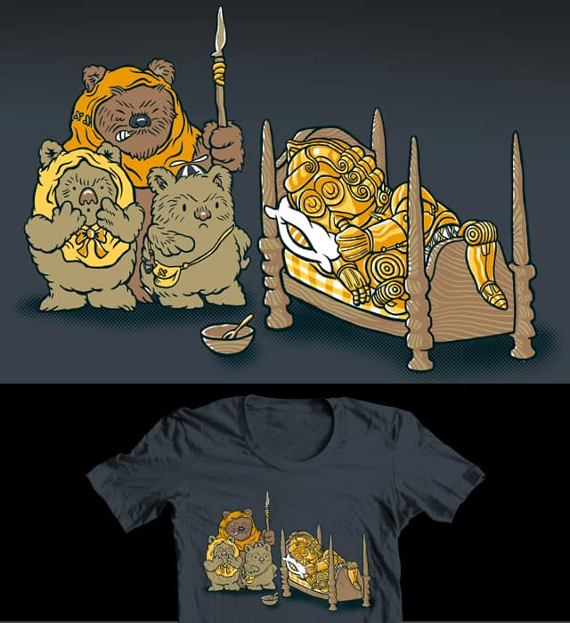 Goldiebot & the 3 bear-like creatures by herky on Threadless