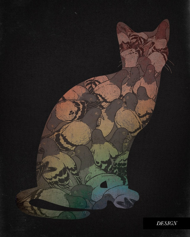Cat Amongst The Pigeons by blue sparrow on Threadless