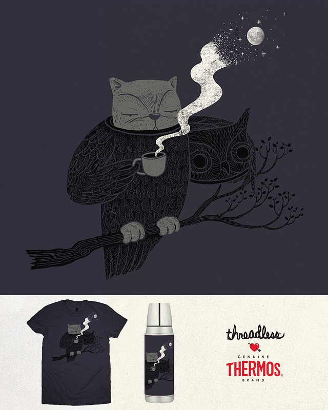 Night Shift Cat by ilovedoodle on Threadless