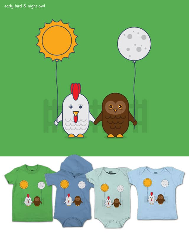 Early Bird and Night Owl by quick-brown-fox on Threadless