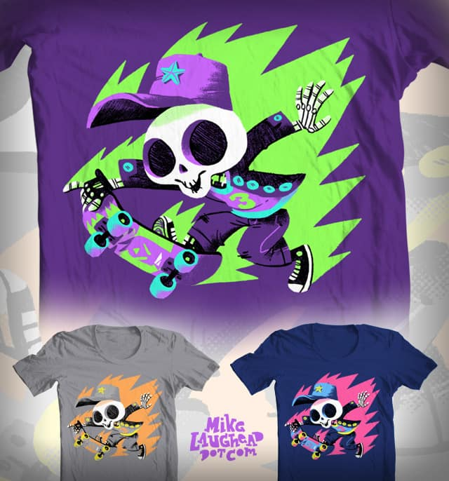 Skeleton Skater on Fire! by Mike Laughead on Threadless