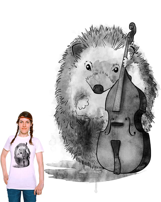 Starry-Eyed Hedgehog Bassist by Bonneroo on Threadless
