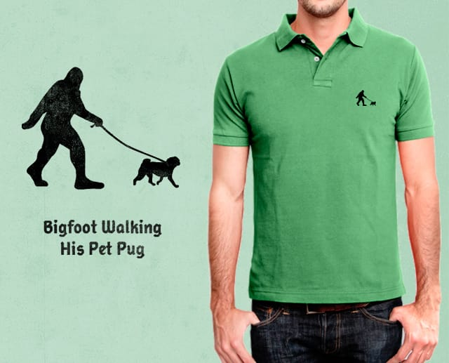Bigfoot Walking His Pet Pug by arzie13 on Threadless