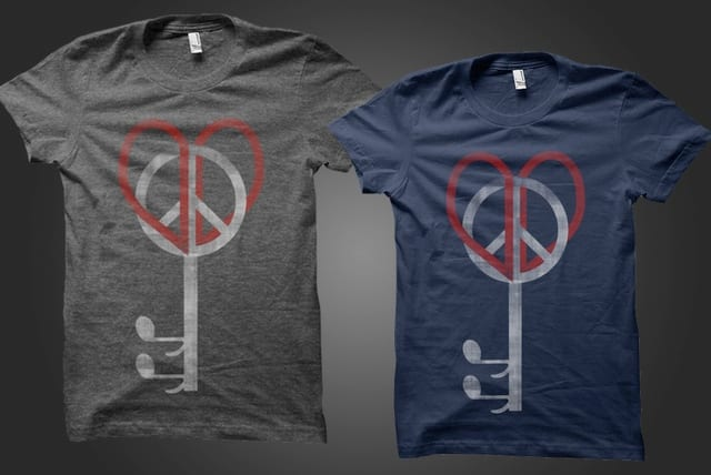 love, peace, music key. by pia.tra on Threadless