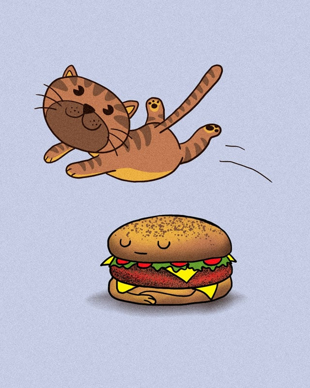 The quick brown cat jumps over the lazy burger by kooky love on Threadless