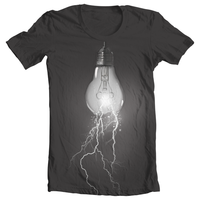 Lightning Bulb with Glow by ColdDegree on Threadless