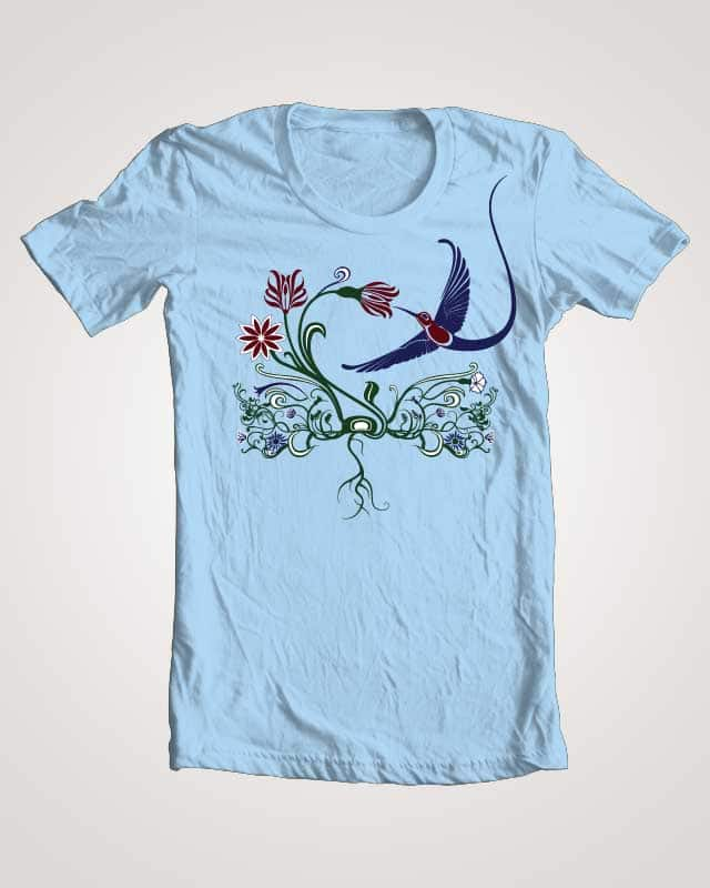 Hummingbird & Flowers by meghantatiana on Threadless