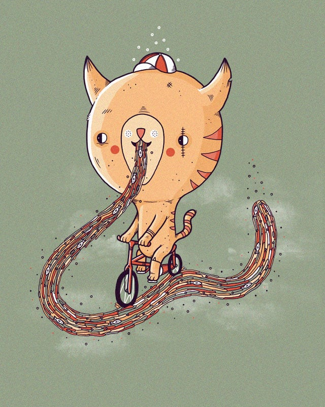 A cat riding a bike along a trail of it's own sick by randyotter3000 on Threadless