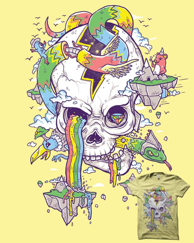 FlyingRainbowSkull Island by biotwist on Threadless