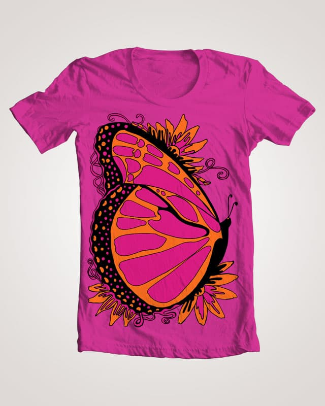 Pink, Tangerine and Black Summer Butterfly by JanDeA on Threadless