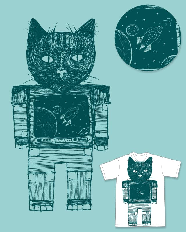 Robot-Cat Spaceman Wannabe by monmel on Threadless