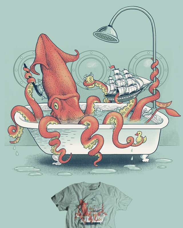 Kraken Bath Time by jillustration on Threadless