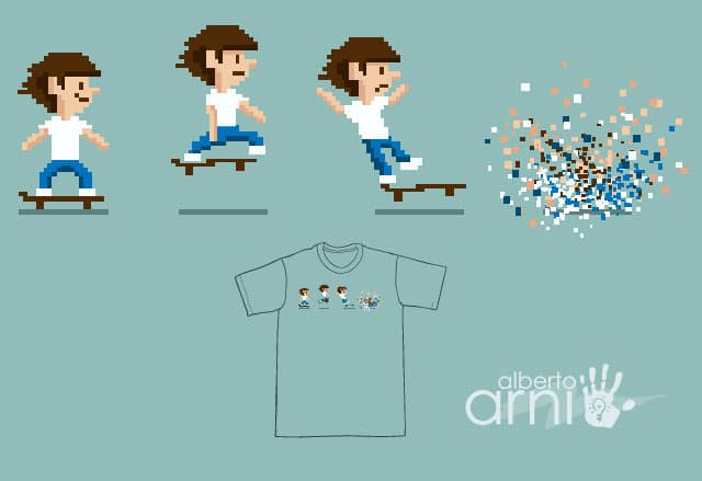 Pixel Skater Gone Wild by albertoarni on Threadless
