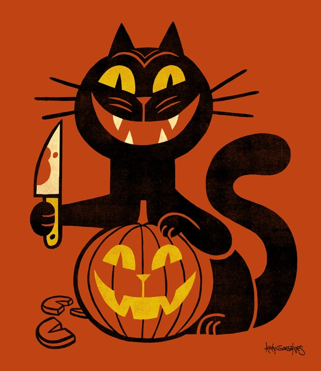 Narcissistic Halloween Cat by andyg on Threadless