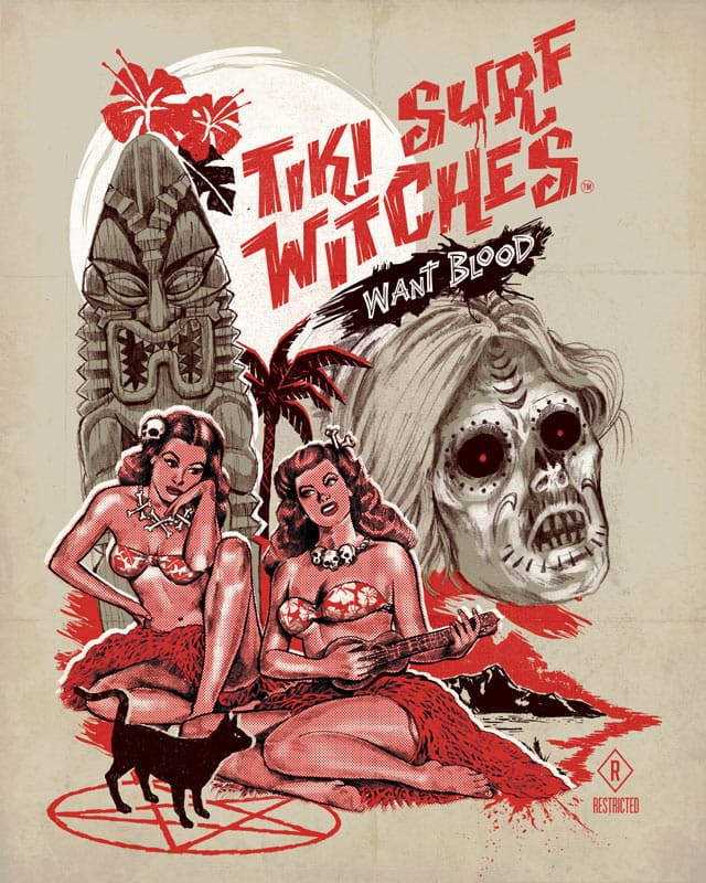 Tiki Surf Witches Want Blood by blue sparrow on Threadless