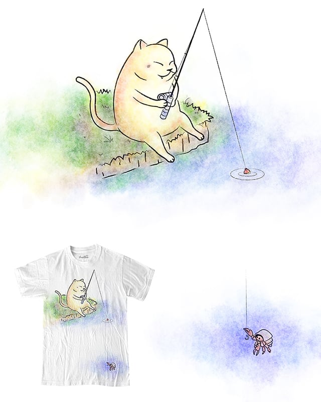 Fat Cat Fishing by BestDinosaur on Threadless