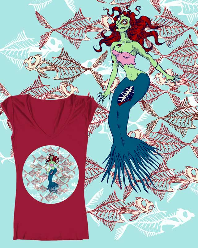 Zombie Mermaid by cavigliascabinet on Threadless