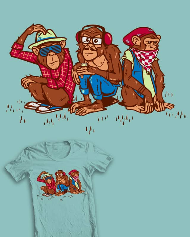 Three Wise Hipster Monkeys by bennyd302 on Threadless